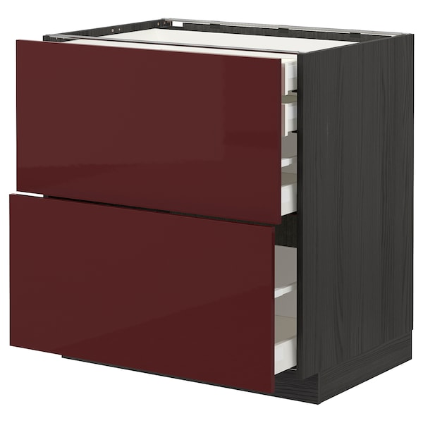 METOD / MAXIMERA Base cb 2 frnts/2 low/1 md/1 hi drw, black Kallarp/high-gloss dark red-brown, 80x60 cm