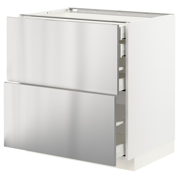 METOD / MAXIMERA Base cb 2 frnts/2 low/1 md/1 hi drw, white/Vårsta stainless steel, 80x60 cm