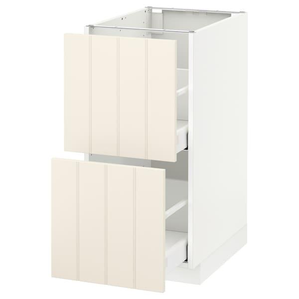 METOD / MAXIMERA Base cb 2 fronts/2 high drawers, white/Hittarp off-white, 40x60 cm
