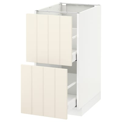 METOD / MAXIMERA Base cb 2 fronts/2 high drawers, white/Hittarp off-white, 40x60 cm