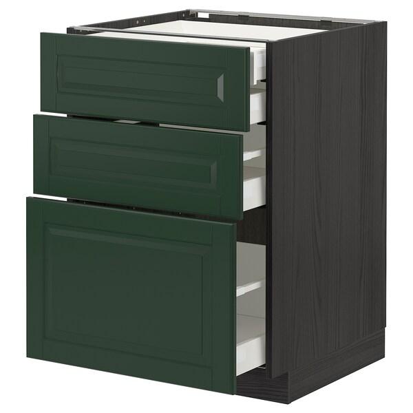 METOD / MAXIMERA Base cb 3 frnts/2 low/1 md/1 hi drw, black/Bodbyn dark green, 60x60 cm
