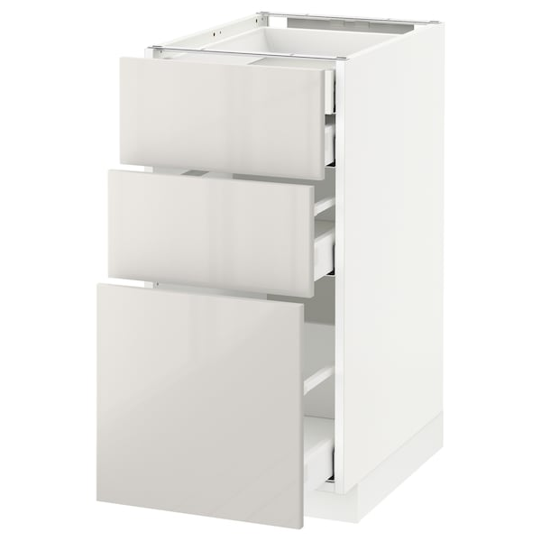 METOD / MAXIMERA Base cb 3 frnts/2 low/1 md/1 hi drw, white/Ringhult light grey, 40x60 cm