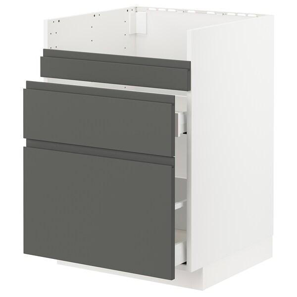 METOD / MAXIMERA base cb f HAVSEN snk/3 frnts/2 drws white/Voxtorp dark grey 60.0 cm 62.1 cm 88.0 cm 60.0 cm 80.0 cm