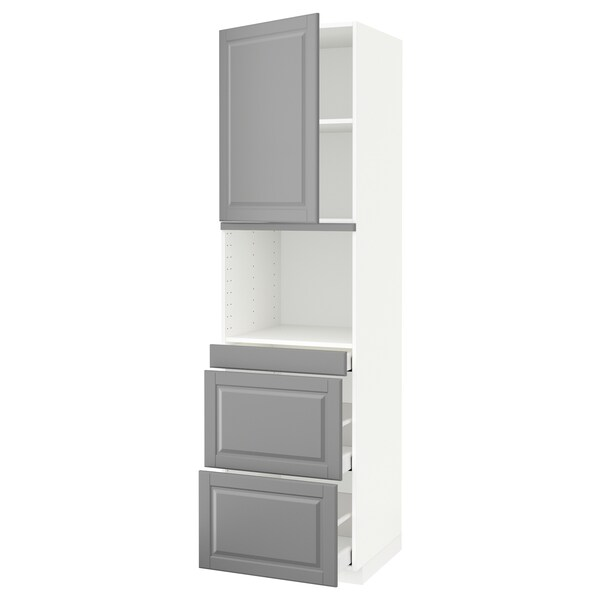 METOD / MAXIMERA Hi cab f micro combi w door/3 drwrs, white/Bodbyn grey, 60x60x220 cm
