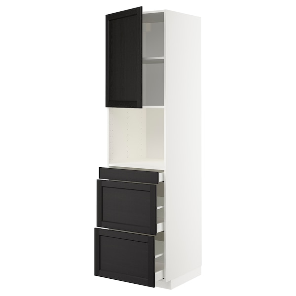 METOD / MAXIMERA Hi cab f micro combi w door/3 drwrs, white/Lerhyttan black stained, 60x60x220 cm