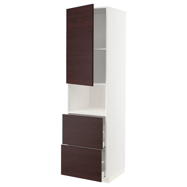METOD / MAXIMERA Hi cab f micro w door/2 drawers, white Askersund/dark brown ash effect, 60x60x220 cm