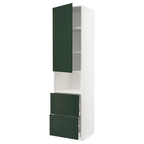 METOD / MAXIMERA خزانة عالية لميكروويف مع باب/درجين, أبيض/Bodbyn أخضر غامق, 60x60x240 سم