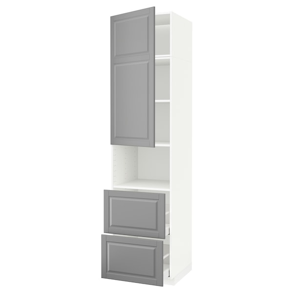 METOD / MAXIMERA Hi cab f micro w door/2 drawers, white/Bodbyn grey, 60x60x240 cm