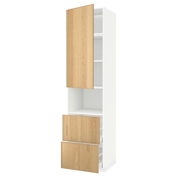 METOD / MAXIMERA Hi cab f micro w door/2 drawers, white/Ekestad oak, 60x60x240 cm