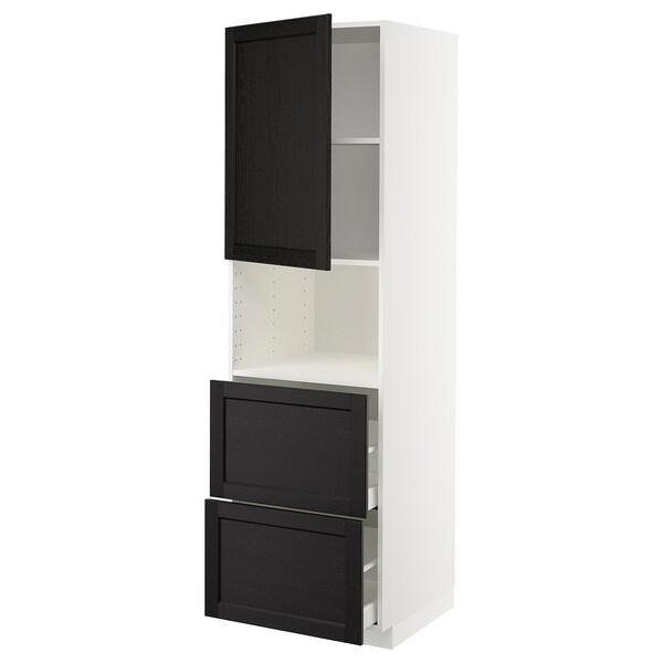 METOD / MAXIMERA hi cab f micro w door/2 drawers white/Lerhyttan black stained 60.0 cm 61.9 cm 208.0 cm 60.0 cm 200.0 cm