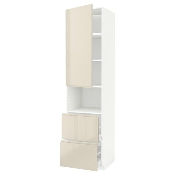 METOD / MAXIMERA Hi cab f micro w door/2 drawers, white/Voxtorp high-gloss light beige, 60x60x240 cm