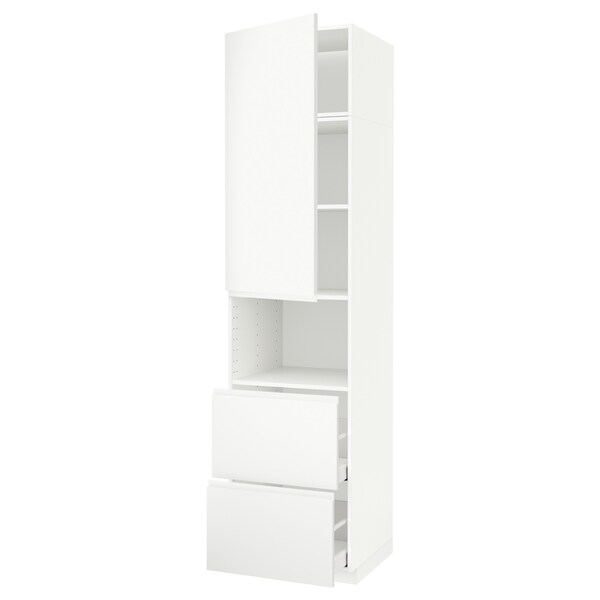 METOD / MAXIMERA Hi cab f micro w door/2 drawers, white/Voxtorp matt white, 60x60x240 cm