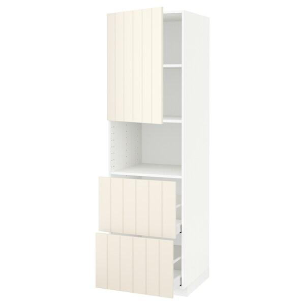 METOD / MAXIMERA hi cab f micro w door/2 drawers white/Hittarp off-white 60.0 cm 61.8 cm 208.0 cm 60.0 cm 200.0 cm