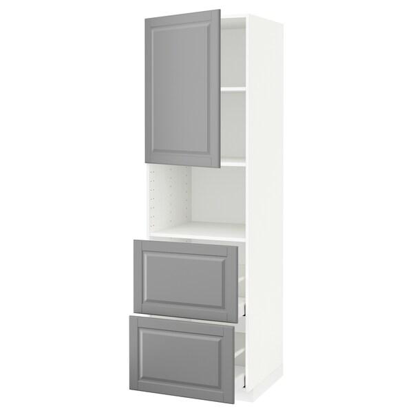 METOD / MAXIMERA hi cab f micro w door/2 drawers white/Bodbyn grey 60.0 cm 61.9 cm 208.0 cm 60.0 cm 200.0 cm
