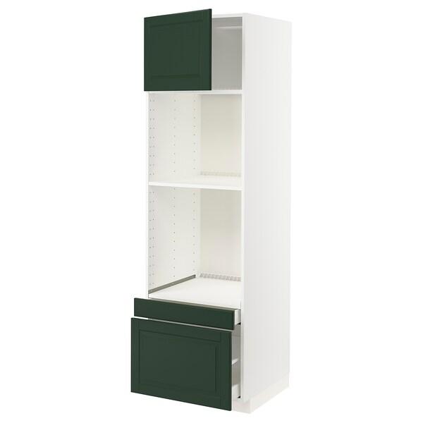 METOD / MAXIMERA Hi cab f ov/combi ov w dr/2 drwrs, white/Bodbyn dark green, 60x60x200 cm