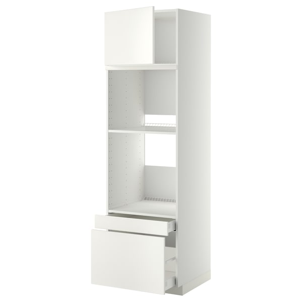 METOD / MAXIMERA Hi cab f ov/combi ov w dr/2 drwrs, white/Veddinge white, 60x60x200 cm