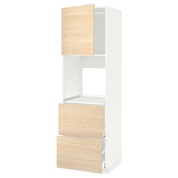 METOD / MAXIMERA خزانة عالية لفرن مع د., أبيض/Askersund مظهر دردار خفيف, 60x60x200 سم