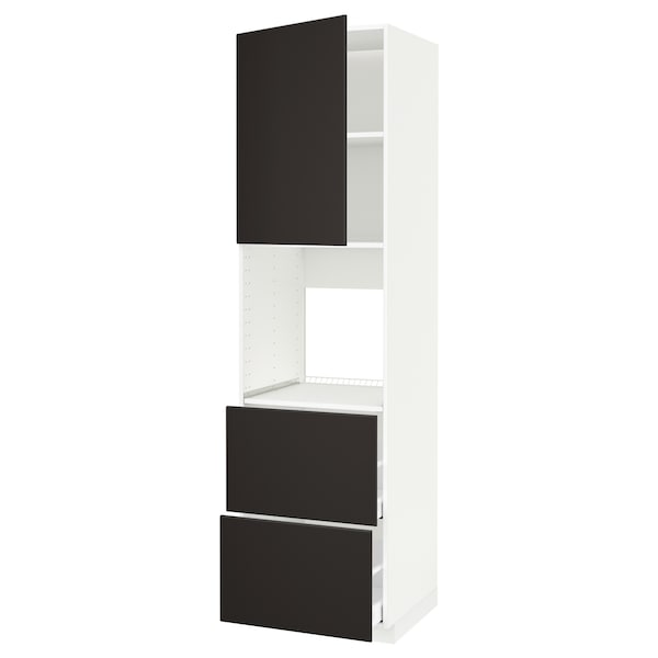METOD / MAXIMERA خزانة عالية لفرن مع د., أبيض/Kungsbacka فحمي, 60x60x220 سم