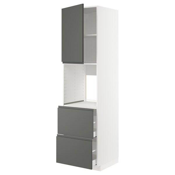 METOD / MAXIMERA خزانة عالية لفرن مع د., أبيض/Voxtorp رمادي غامق, 60x60x220 سم