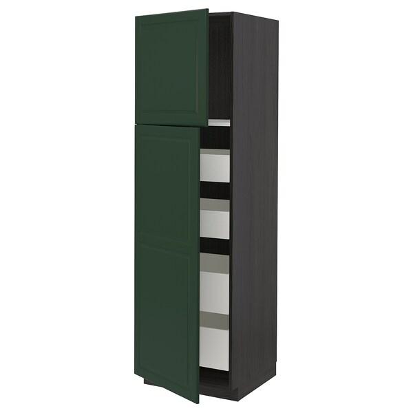 METOD / MAXIMERA Hi cab w 2 doors/4 drawers, black/Bodbyn dark green, 60x60x200 cm