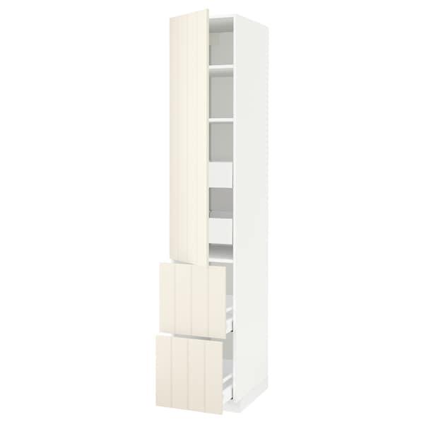 METOD / MAXIMERA Hi cab w shlvs/4 drawers/dr/2 frnts, white/Hittarp off-white, 40x60x220 cm