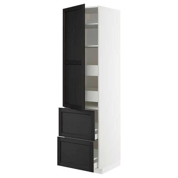 METOD / MAXIMERA Hi cab w shlvs/4 drawers/dr/2 frnts, white/Lerhyttan black stained, 60x60x220 cm