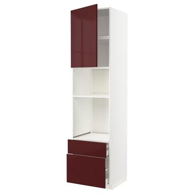 METOD / MAXIMERA High cab f oven/micro w dr/2 drwrs, white Kallarp/high-gloss dark red-brown, 60x60x240 cm