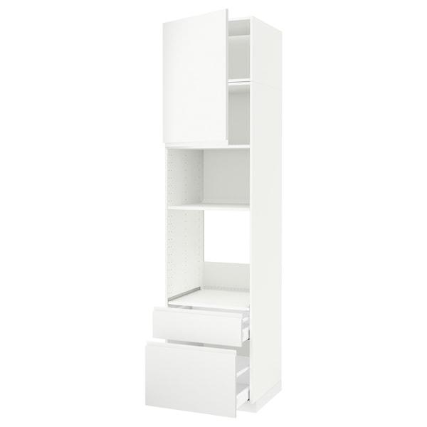 METOD / MAXIMERA High cab f oven/micro w dr/2 drwrs, white/Voxtorp matt white, 60x60x240 cm