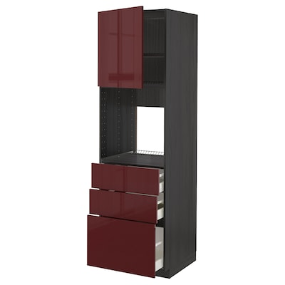 METOD / MAXIMERA High cab f oven w door/3 drawers, black Kallarp/high-gloss dark red-brown, 60x60x200 cm
