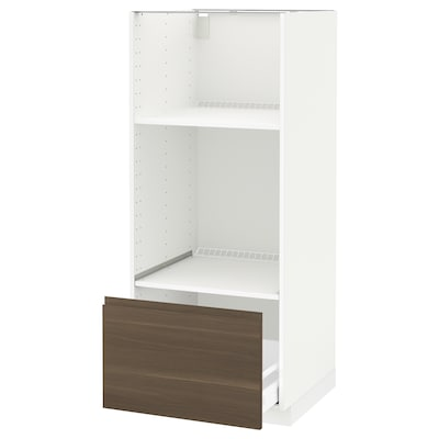 METOD / MAXIMERA High cab for oven/micro w drawer, white/Voxtorp walnut, 60x60x140 cm