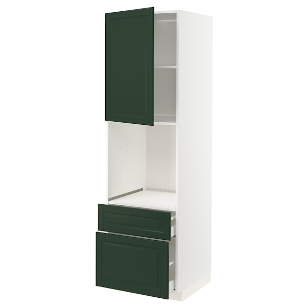 METOD / MAXIMERA High cabinet f oven+door/2 drawers, white/Bodbyn dark green, 60x60x200 cm