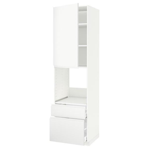 METOD / MAXIMERA High cabinet f oven+door/2 drawers, white/Voxtorp matt white, 60x60x220 cm