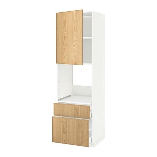Metod Maximera High Cabinet F Oven Door 2 Drawers White Ekestad Oak