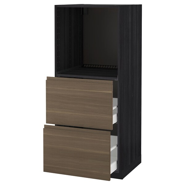 METOD / MAXIMERA High cabinet w 2 drawers for oven, black/Voxtorp walnut, 60x60x140 cm