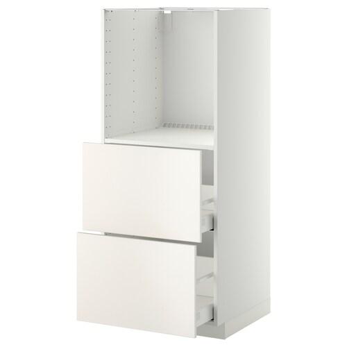 METOD / MAXIMERA high cabinet w 2 drawers for oven white/Veddinge white 60.0 cm 61.6 cm 148.0 cm 60.0 cm 140.0 cm
