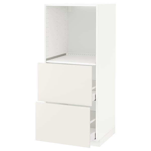 METOD / MAXIMERA High cabinet w 2 drawers for oven, white/Veddinge white, 60x60x140 cm