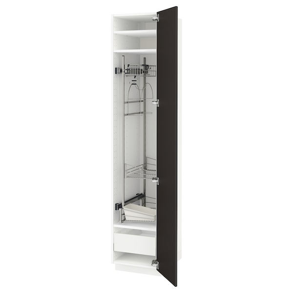 METOD / MAXIMERA High cabinet with cleaning interior, white/Kungsbacka anthracite, 40x60x200 cm