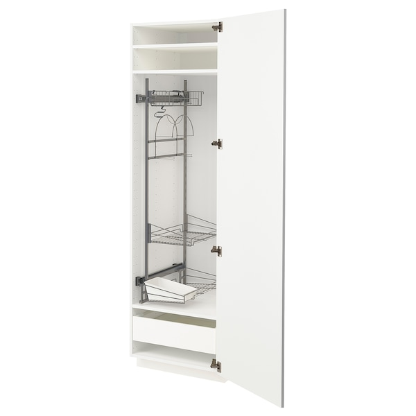 METOD / MAXIMERA High cabinet with cleaning interior, white/Ringhult white, 60x60x200 cm