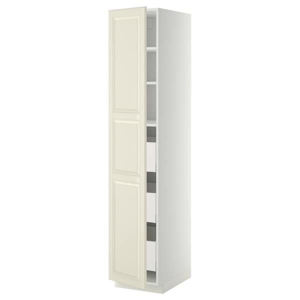 METOD / MAXIMERA High cabinet with drawers, white/Bodbyn off-white, 40x60x200 cm