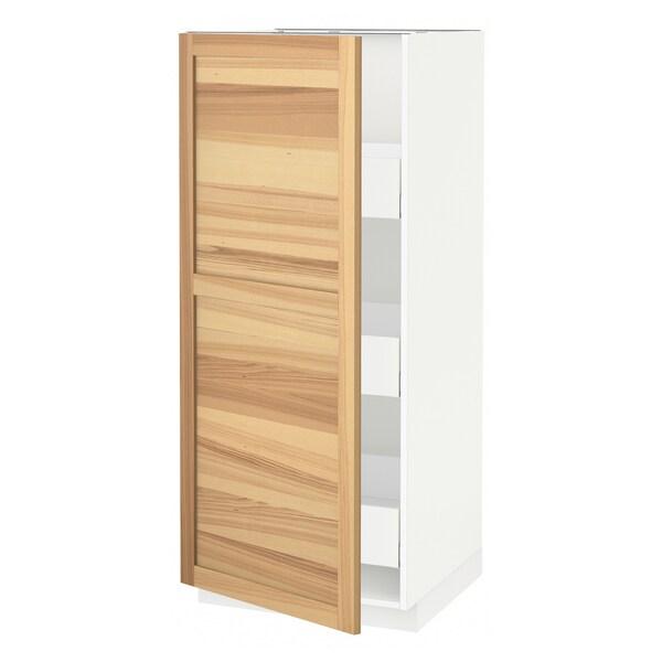 METOD / MAXIMERA خزانة عالية بأدراج, أبيض/Torhamn رماد, 60x60x140 سم
