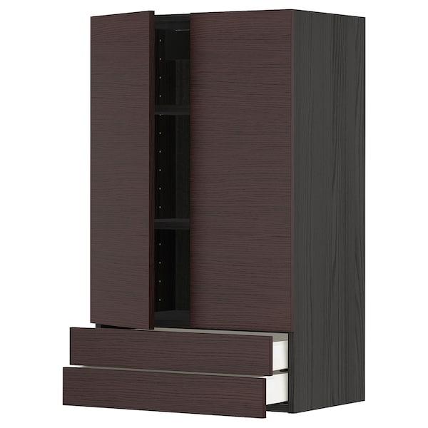 METOD / MAXIMERA Wall cabinet w 2 doors/2 drawers, black Askersund/dark brown ash effect, 60x100 cm