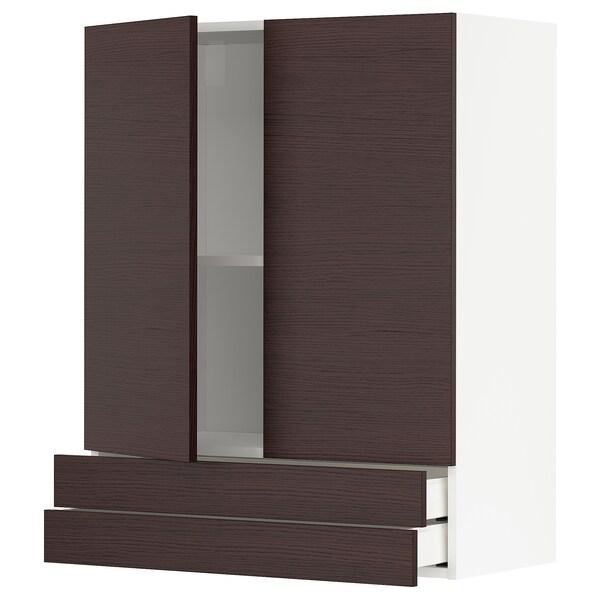 METOD / MAXIMERA Wall cabinet w 2 doors/2 drawers, white Askersund/dark brown ash effect, 80x100 cm