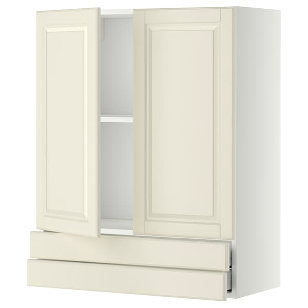 METOD / MAXIMERA Wall cabinet w 2 doors/2 drawers, white/Bodbyn off-white, 80x100 cm