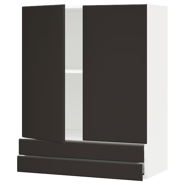 METOD / MAXIMERA Wall cabinet w 2 doors/2 drawers, white/Kungsbacka anthracite, 80x100 cm