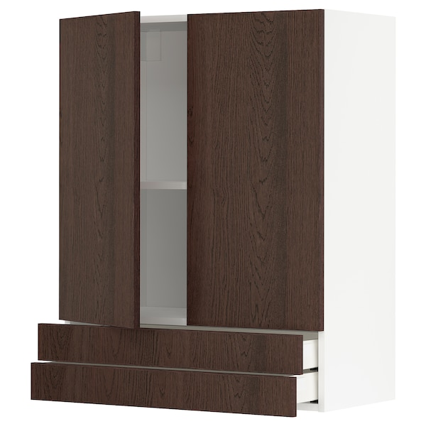 METOD / MAXIMERA Wall cabinet w 2 doors/2 drawers, white/Sinarp brown, 80x100 cm