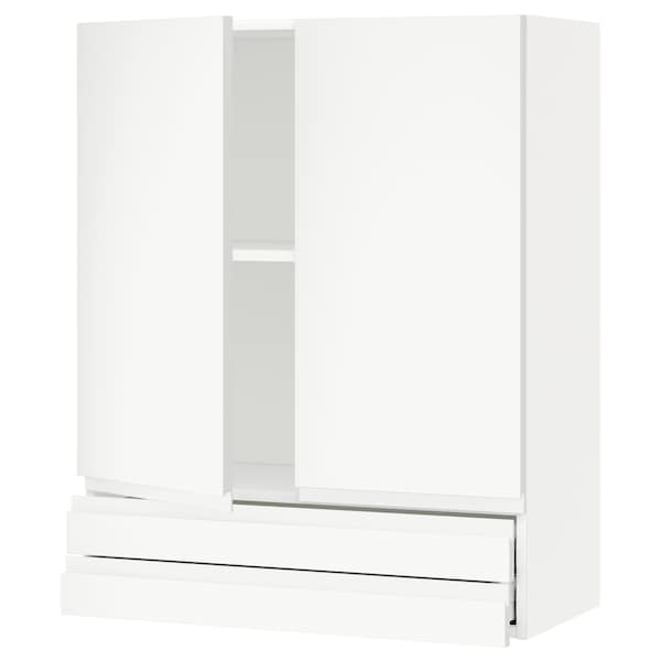 METOD / MAXIMERA Wall cabinet w 2 doors/2 drawers, white/Voxtorp matt white, 80x100 cm