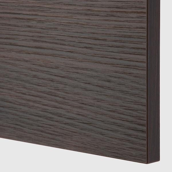 METOD Wall cab horizo 2 doors w push-open, black Askersund/dark brown ash effect, 80x80 cm