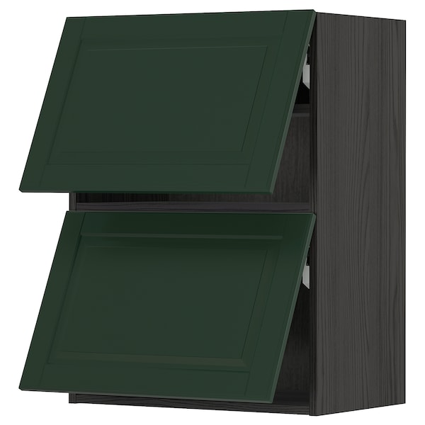 METOD Wall cab horizo 2 doors w push-open, black/Bodbyn dark green, 60x80 cm