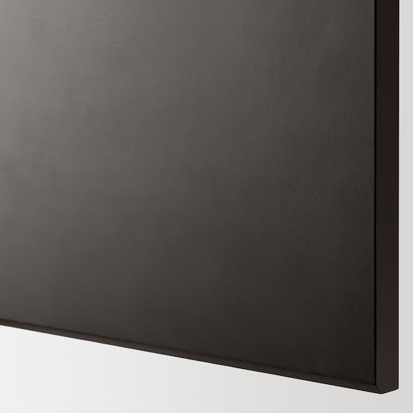 METOD Wall cab horizo 2 doors w push-open, black/Kungsbacka anthracite, 60x80 cm