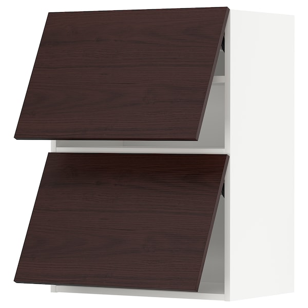 METOD Wall cab horizo 2 doors w push-open, white Askersund/dark brown ash effect, 60x80 cm